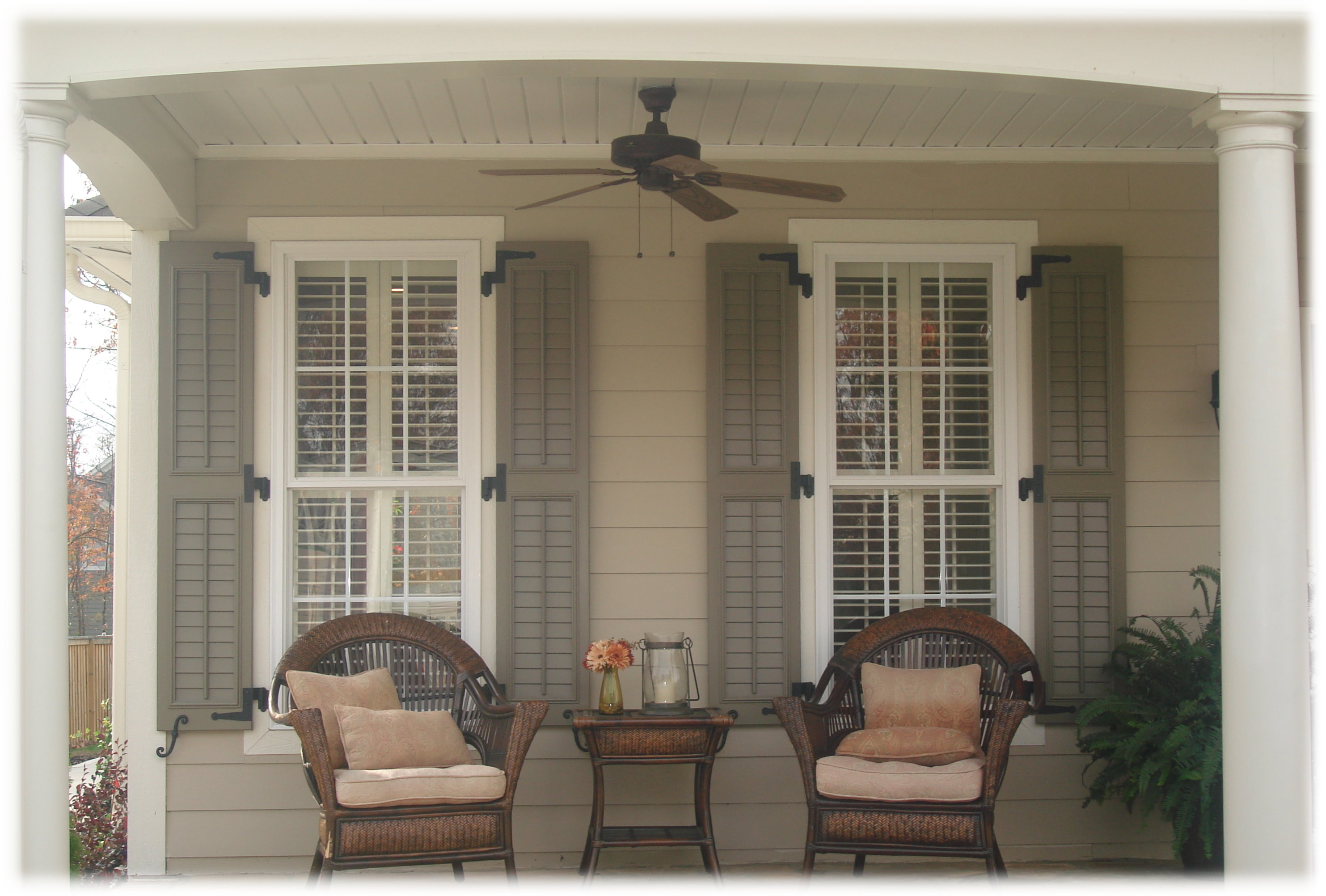 Exterior shutters acadian custom shutters for Paint vinyl shutters